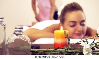 thérapeute, masage, chaud, traitement, pierre, spa.