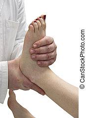 thérapeute, massages, girl, physique, mains