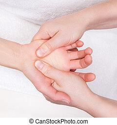 thérapeute, qualifié, paume, masage, thérapeutique