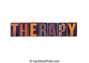 thérapie, concept, type, isolé, letterpress