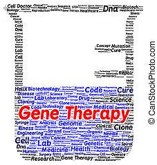thérapie, forme, gène, mot, nuage