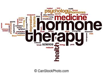 thérapie, hormone, mot, nuage
