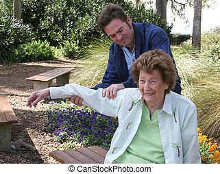 thérapie, jardin, physique