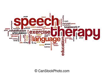 thérapie, parole, nuage, concept, mot