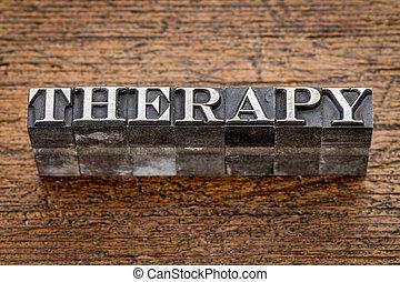 thérapie, type, métal mot