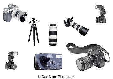 foto equipment - Th eimage of foto equipment under the white...