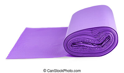 Th pink roll of plastic garbage bags isolated on white background