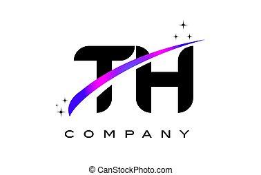 TH T H Black Letter Logo Design with Purple Magenta Swoosh