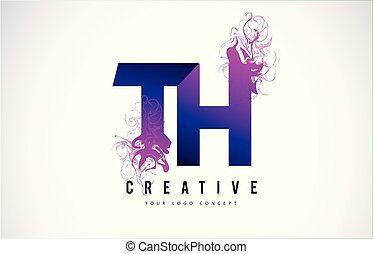 TH T H Purple Letter Logo Design with Creative Liquid Effect Flowing Vector Illustration.