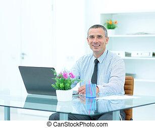 th, ufficio, laptop, qualificato, avvocato, fronte, aperto