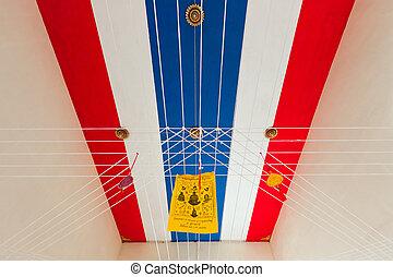 thaï, bouddhiste, drapeau, temple