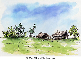 thaï, lâche, sketch., village.