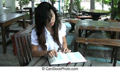 thaï, lecture, girl, elle, bible