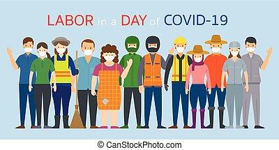 thaï, main-d'œuvre, figure, ouvrier, gens, masque, porter, groupe