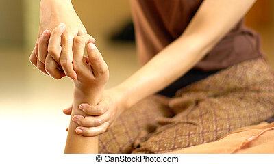 thaï, masage, main