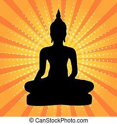 thaï, silhouette, buddha.
