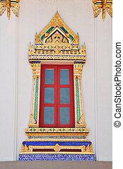 thaï, style, fenêtre, temple