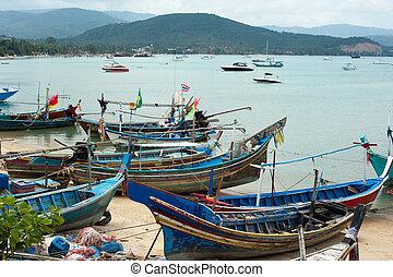 thaï, traditionnel, bateau, à, port., thaïlande, samui