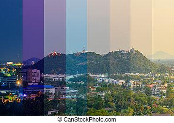 thaï, wang, nuit, montagne, éclairage, temple, palais, jaune, public, temps, différent, repère, /, ombre, couleur