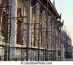 thaïlande, échafaudage, vieux, rénovation, église