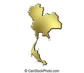 thaïlande, 3d, doré, carte