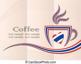 thaïlande, café, fait, drapeau, logo