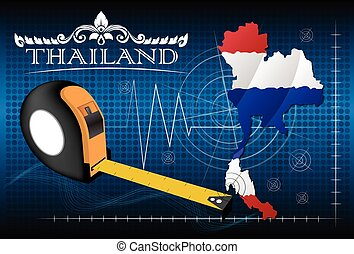 thaïlande, carte, règle, vector.