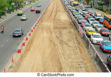 thaïlande, construction, confiture, trafic, route