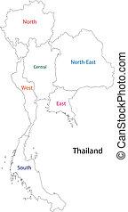 thaïlande, contour, carte