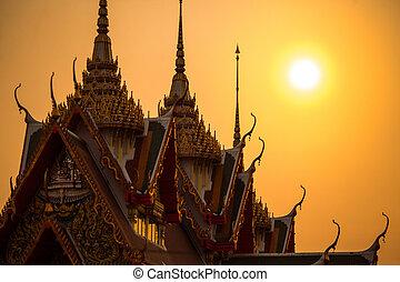 thaïlande, coucher soleil, temple