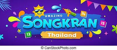 thaïlande, festival, conception, bannières, surprenant, coloré, songkran