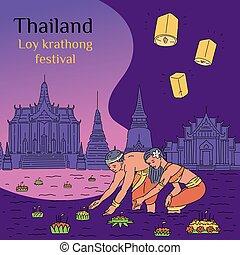 thaïlande, flotter, krathong, affiche, eau, festival, loy, dessin animé, panier, gens