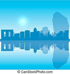 thaïlande, horizon, vecteur, silhouette