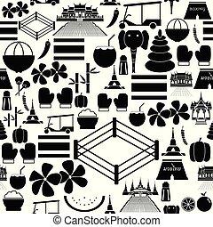 thaïlande, icon., seamless, modèle fond