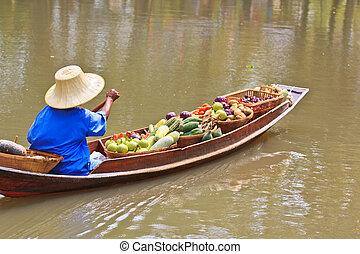 thaïlande, marché flottant