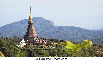 thaïlande, montagne, inthanon, plus haut, doi, temple