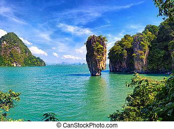 thaïlande, nature., james, lien, île, vue, paysage tropical