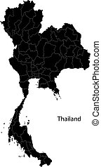 thaïlande, noir, carte