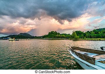 thaïlande, nuage, littoral, orage, sous