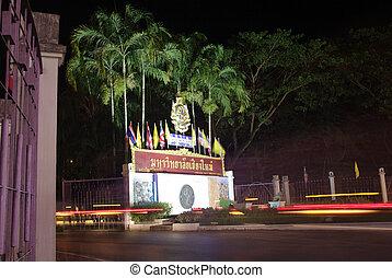 thaïlande, nuit, chiangmai, signage, université
