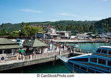 thaïlande, phi, krabi province, île, port