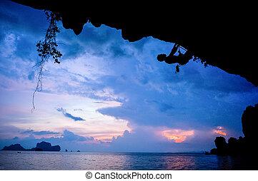 thaïlande, varappeur, coucher soleil