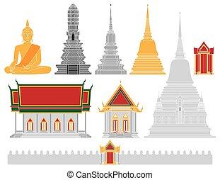 thaïlande, vecteur, temple
