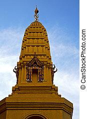 thaïlande, wat, toit, asie, mosaïque, s, couleurs, bangkok