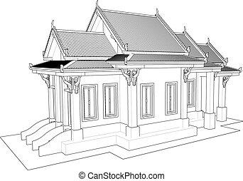 thai., ワット, 寺院, タイ