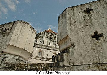 Thai ancient fortress wall