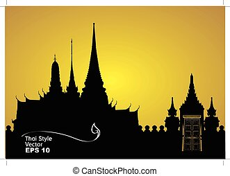 Thai architecture silhouette