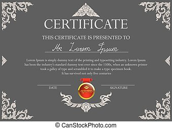 Thai art certificate design template