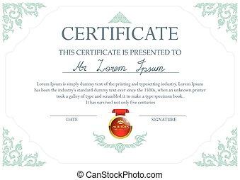 Thai art certificate design template