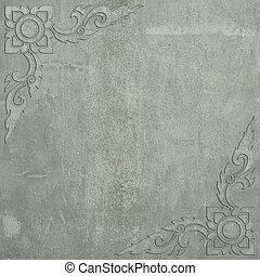 Thai art frame made ??of cement wall